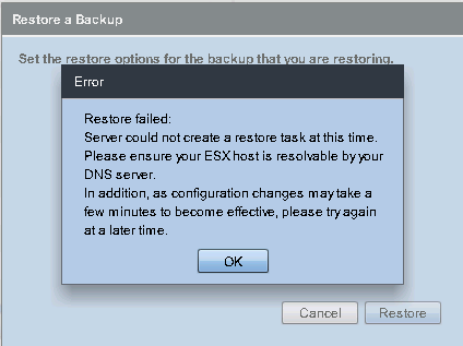 EBR Emergency Restore Error