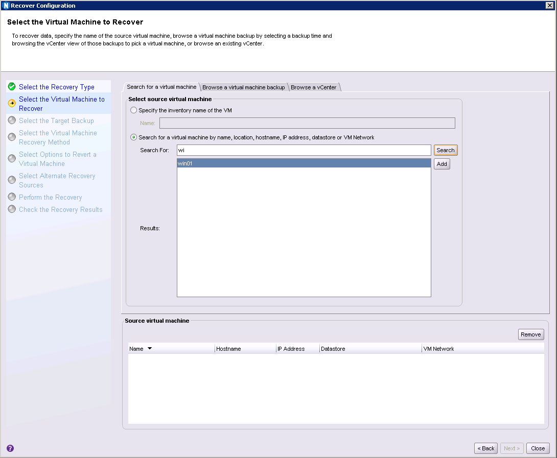 Fig 02: Choosing the virtual machine to recover from