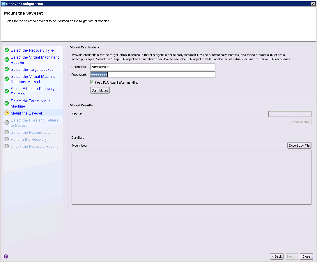 Fig 08: Supplying virtual machine credentials to mount the backup